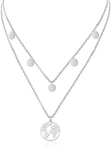 niuziyanfa Co.,ltd Collar Collar Joyería de Viaje de Moda Gargantilla pequeña Collar de Doble Capa de Acero Inoxidable Mapa del Mundo Collares Pendientes