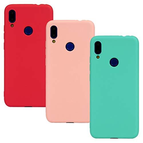 GODTOOK 3 x Funda para Xiaomi Redmi Note 7,Slim Soft Carcasa Scrub TPU Flexible Caja Suave Silicone Antigolpes Back Protective Case Blanda Cover Patrón - Rosa, Verde Menta, Rojo