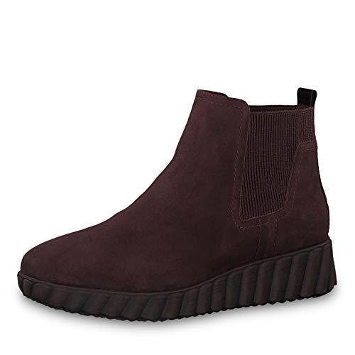 Tamaris Damen Stiefeletten 25485-23, Frauen Keilstiefeletten, Boots halbstiefel Wedge-Bootie flach Damen Frauen weibliche Lady,Bordeaux,38 EU / 5 UK