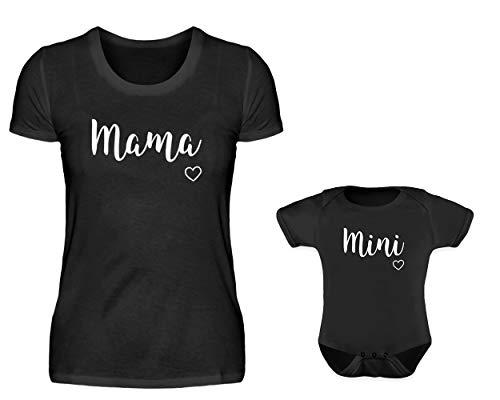 Mutter Baby Partnerlook Set T-Shirt Und Baby Body Strampler Mama Und Mini Für Sohn Oder Tochter (Schwarz Mini, 0-6 Monate)