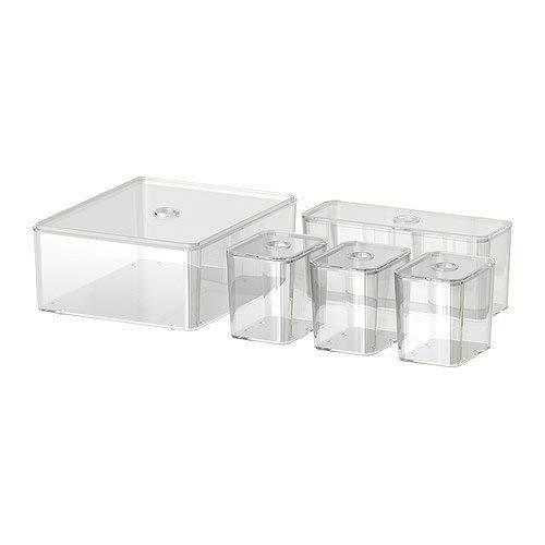 IKEA GODMORGON - Låda med lock, 5-pack, transparent - 24 x 20 x 10 cm Vitt