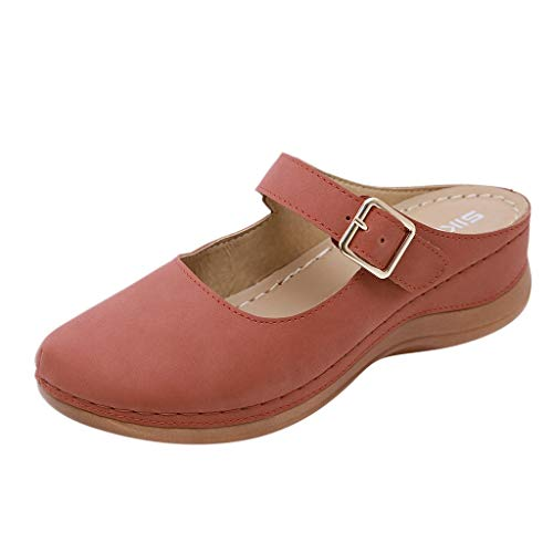 haoricu Premium Orthopedic Open Toe Sandals for Women,Wedge Leather Hook and Loop Sandals Slipper (Watermelon Red,8.5)