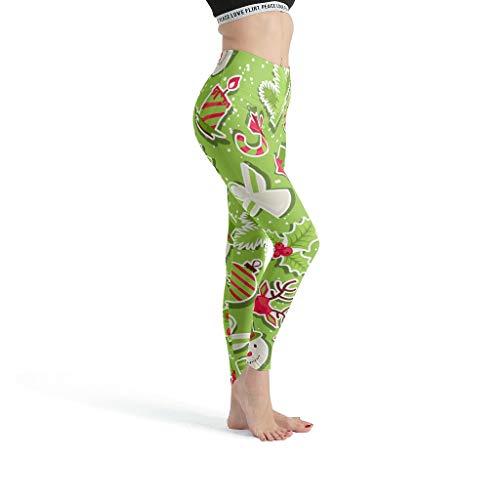 NiTIAN dames yoga loopbroek comfort training leggings compressiewerking Christmas Tree New Year print joggingbroek nieuw in 2019