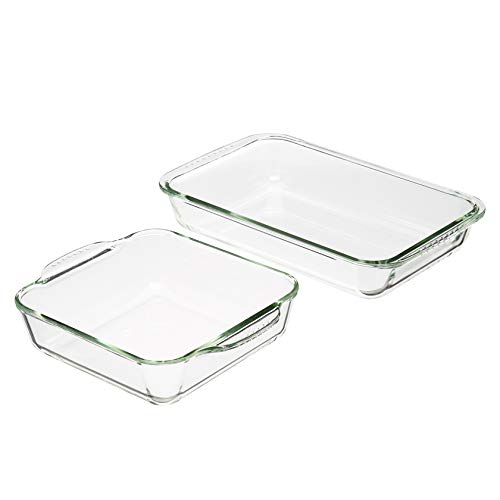 Amazon Basics Oven Safe Glass Baking Dish Set, Set of 2, Rectangular 3L and Square 2L