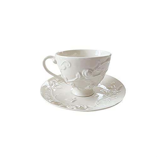XDYNJYNL Amerikanische Porzellan Kaffeetassen und Untertasse, 6.12oz / 180ml Glatte Milch Espresso-Tassen Teetassen Trinkgläser Getränke-Becher Ananas-Teetasse mit Griff für Milchshake-Tee-Wasser-Bech