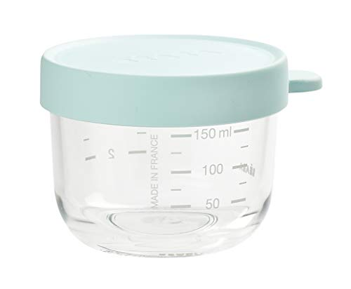 Béaba – glazen bewaardoos voor babyvoeding – met schaalverdeling lichtblauw