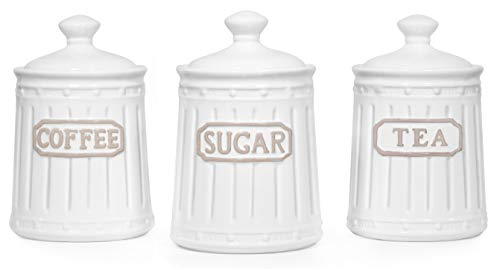 Canisters Sets for the Kitchen Airtight, White Kitchen Canisters set of 3 for Coffee Tea Sugar, Ceramic Canisters With Lids TAWCHES