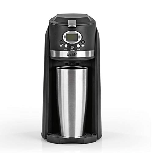 BEEM GRIND & BREW 2 GO Single-Filterkaffeemaschine mit Mahlwerk | 0,4 l Thermobecher | 24h-Timer | 800 W | Coffee to Go | Permanentfilter
