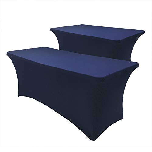 Hipinger 2 Pack Stretch Spandex Table Cover for 6 Ft Rectangle Tables, 72' Length x 30' Width x 30' Height Fitted Tablecloth for Standard Folding Tables (Navy Blue, 6 ft.)