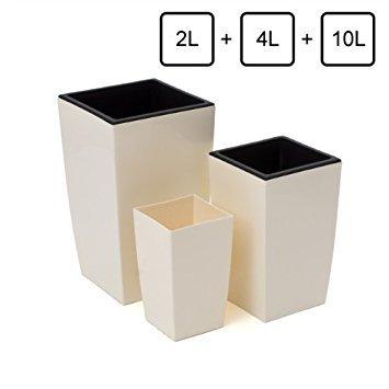 Lot de 3 pots de fleur Coubi 2L 4L 10L avec bacs interieur couleur: creme