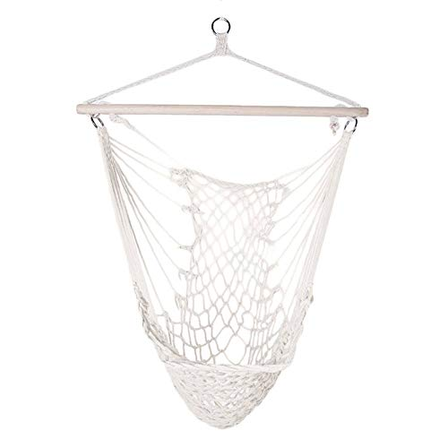 Hanging Hammock Chair,Swing Seat with Soft Cotton Rope,Sturdy Wood Bar,for Indoor Outdoor Bedroom Garden Yard Patio Porch