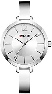 Curren 9012 Quartz Movement Round Dial Stainless Steel Strap Waterproof Women Wristwatch - Silver