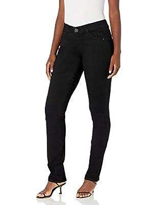 Democracy Women's Ab Solution Straight Leg Jean, Black, 16