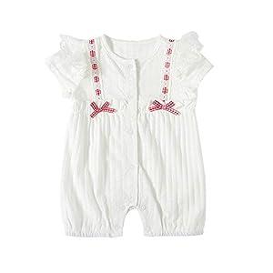 JunNeng 新生児 夏 ロンパース 半袖 フォーマル カバーオール 薄手 肌着 前開き 子供 女の子 蝶結び 可愛い 白 80cm