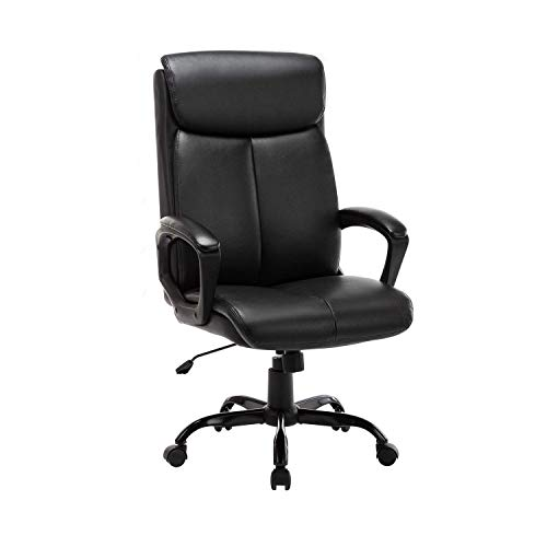 LCH Ergonomic High Back Office Chair,Boss Chair,Computer Chair,PU Chair with Armrests,360°Swivel Task Chair,Black