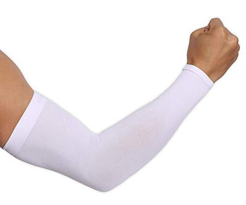Ksnnrsng Ärmlinge Arm Ärmel rutschfest Armwärmer Sleeves UV Sonnenschutz Armstulpen für Damen Herren Radsport Wandern Laufen Golf Basketball Fahren im Freien Sport (2 Paar Weiß)