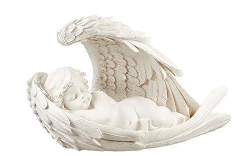 Fachhandel Plus Engel im Flügel Links liegend Grabengel weiß Grabschmuck Skulptur Putte