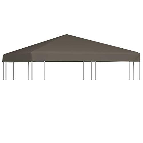 Ksodgun Toldo de cenador, Cubierta de pabellón Exterior Color Topo de 3 x 3 m - con Revestimiento de PVC y 16 Cierres de Velcro