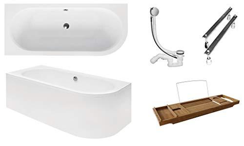 BESCO AVITA badkuip 180 x 80 cm acryl set schort sifon bad hoek hoekbad wit design modern afvoergarnituur LINKS hoekig 180 x 80 cm Bak + schort + afvoer + voeten + badplank