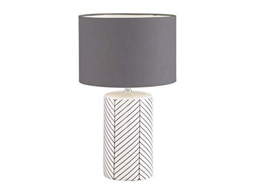 Honsel - Lámpara de mesa (50 cm, con LED, cerámica), color blanco, negro y gris
