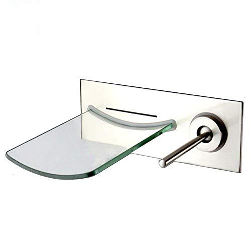 Grifo de cobre cascada de vidrio montado en la pared caliente y fría europeo moderno bañera lavabo cepillado grifo