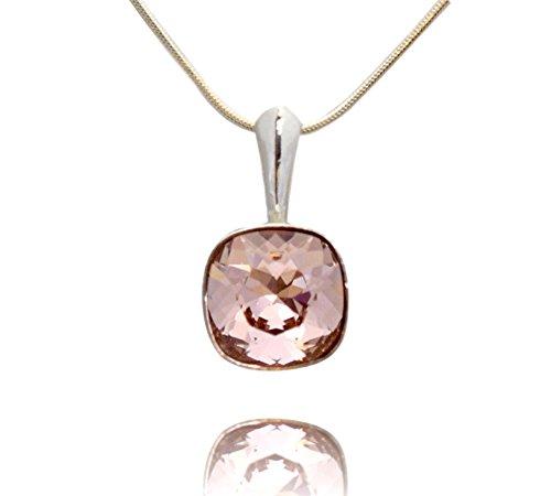 Crystals & Stones, ciondolo quadrato con catena in argento 925con pietre Swarowski® Elements originali, con custodia e argento, colore: Vintage Rose, cod. 7