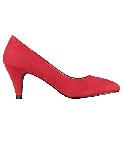 5792-RED-6, KRISP Zapatos Tacón Salón Elegantes Fiesta, Rojo (5792), 39