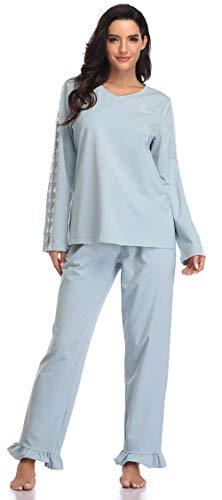 SHEKINI Damen Zweiteiliger Schlafanzug Langes V-Ausschnitt Pyjama aus Baumwolle Hose mit Rüschen Bequeme Nachtwäsche Langarm mit Spitze Hausanzug (L, A-Fairy Blau)