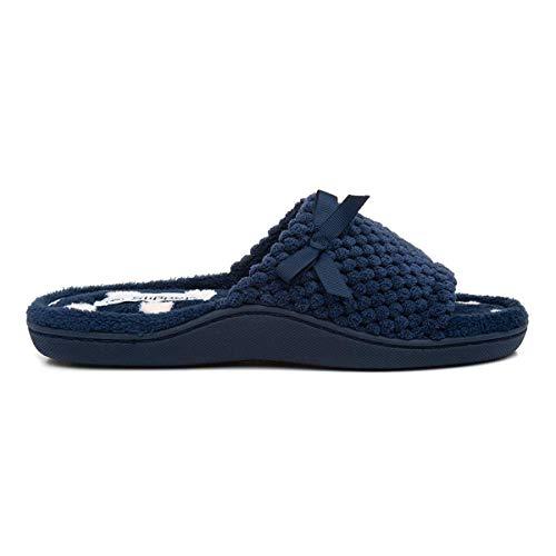 The Slipper Company Womens Navy Mule Slipper - Size 4 UK - Blu