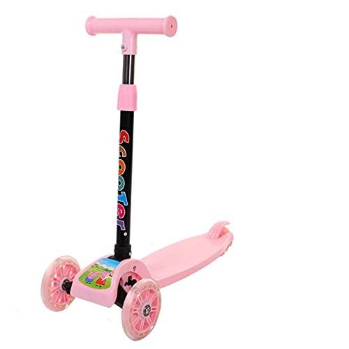 huisuda Juguete plegable para niños scooter 2-8 años de edad tres ruedas intermitente patín swing coche interior y exterior scooter de los niños rosa