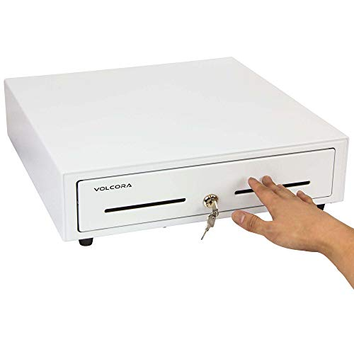 16' Manual Push Open Cash Register Drawer for Point of Sale (POS) System, White Heavy Duty Till with 5 Bills/8 Coin Slots, Key Lock with Fully Removable Money Tray and Double Media Slots
