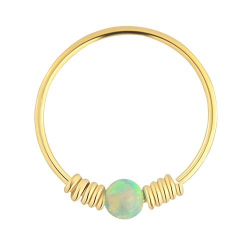 9K Solid Gelb Gold hell grüne Opal Stein mit doppelten Frühling Spule 22 Gauge Hoop Nase Ring Tragus Helix Piercing