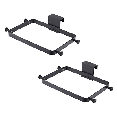 KES Metal Plastic Bag Holder Over The Cabinet Door Pantry Door Garbage Trash Bags Rack for Grocery Kitchen Aluminum 2-Pack Matte Black Finish, SPH400-BK-P2