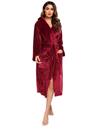 Ekouaer Women's Robes Long Fleece Bathrobes with Hood Soft Hooded Bathrobe, Large Wine Red