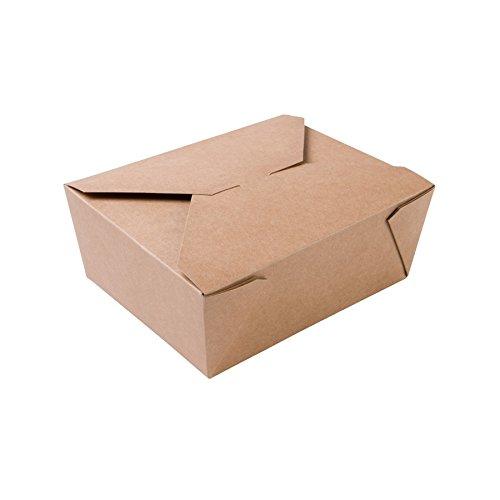 BIOZOYG Speise Box Take Away I Bio Speisebox mit Faltdeckel 1150 ml I Pappschachtel rechteckig I braune Kraftkarton Schachtel kompostierbar I Einweg to Go Boxen 300 Stück