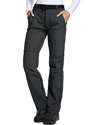 Jessie Kidden Women's Outdoor Fleece Lined Soft Shell Hiking Fishing Ski Snow Pants Insulated Waterproof Wind Resistant,801F,Grey,US XS 28