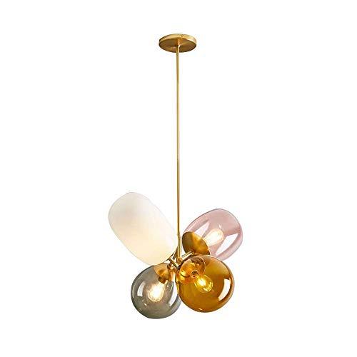 KunMai Modern Lovely 4-Light Chandelier Colorful Glass Balloon Ceiling Light for Girls Room/Nursery, Flower-Shaped LED Chandelier Lamp Gold Finish
