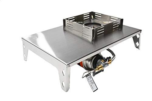F&C 遮熱テーブル SOTO ST-330 レギュレーターストーブ 専用 風防付き 遮熱板 ヘアライン 板厚1mm 折畳式 ボンベ格納 アルコールストーブ兼用可