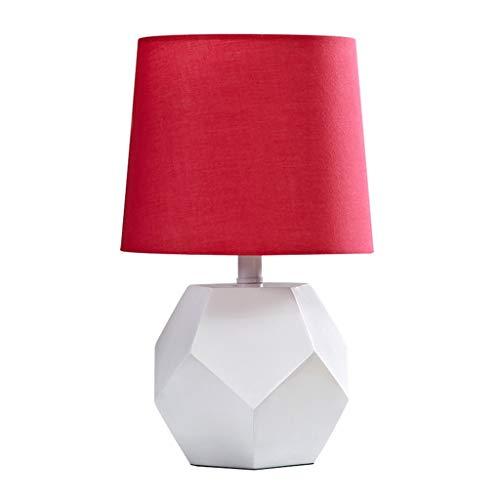 SHUTING2020 Lámpara de mesita de Noche Elegant Simplicity - Lámpara de Mesa de Resina, Base de geometría Blanca, marrón lámparas de Mesa para Sala (Color : Red)