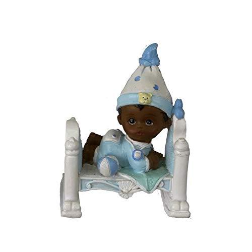 Doge Bébé Garçon de Couleur Noir en Pyjama Bleu, 7,5x5,5x4cm, Petite Figurine en résine dans Un lit avec Ballon