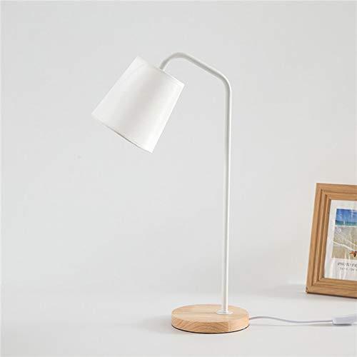 Chreibtischlampe Nachttischlampe Tischlampe Holz Für Schlafzimmer E27 Fassung, Stoff Tageslichtlampe, Nachtlicht Für Wohnzimmer,Schlafzimmer,Büro,Kaffeetisch,Weiß