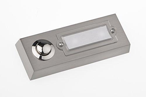 HUBER Klingel Klingeltaster 12001, 1-fach aufputz, rechteckig, Echtmetall, mit Namensschild aus Polycarbonat