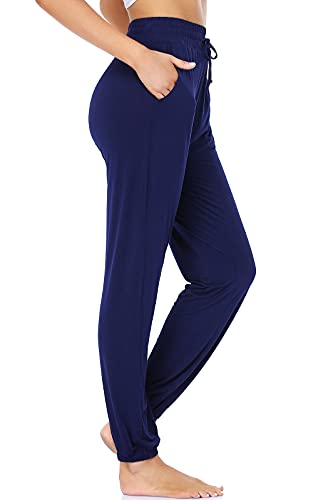 ROCHVIE Womens Jogger Pants with Pockets Womens Atheletic Pants Workout Sweatpants Quick Dry Running Pants Navy Blue L