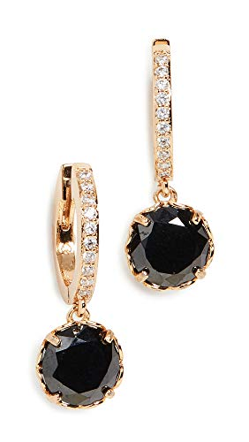 Kate Spade New York Women's Pave Huggie Earrings, Jet, Black, Clear, Gold, One Size
