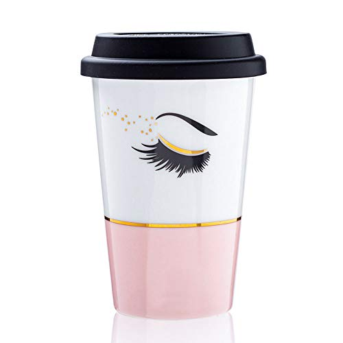 SPSCO Ceramic Travel Mug with Silicone Lid -14 Ounce Coffee Cups for Woman/Man/Couple Valentize/Birthday Gift (14 Ounce, Pink)