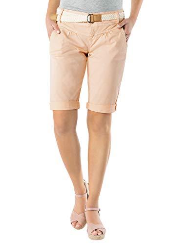 Fresh Made Damen Bermuda-Shorts in Pastellfarben mit Gürtel Light-orange L