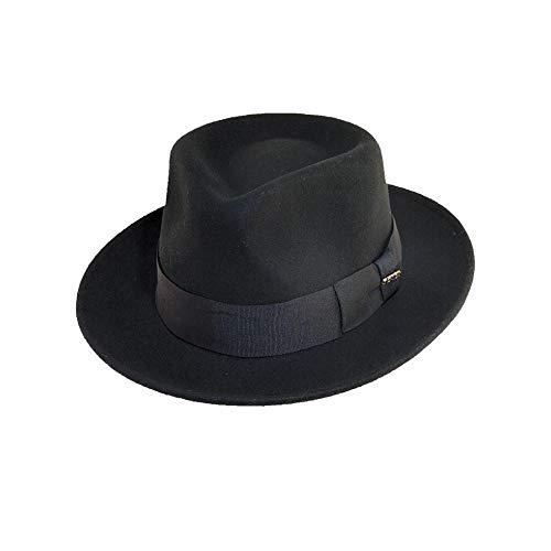 Scala Classico Men's Crushable Water Repelant Wool Felt Fedora Hat, Black, X-Large -  DF109-BLK