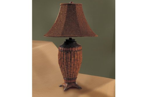 Poundex Set of 2, Jungle Theme Table Lamp with a Brown Color Shade and Matching Bamboo Like Base
