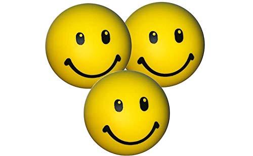 Stressballs 3 x Gelbe – Smiley Stress Ball - Antistressball ,Knautschball – Kleiner Ball, Grosse Stresserleichterung