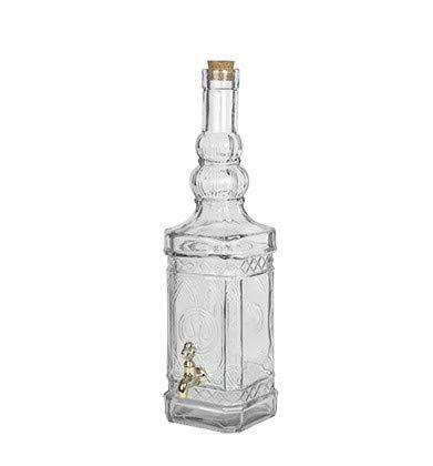 Botella Cristal Cuadrada con Grifo 800ml